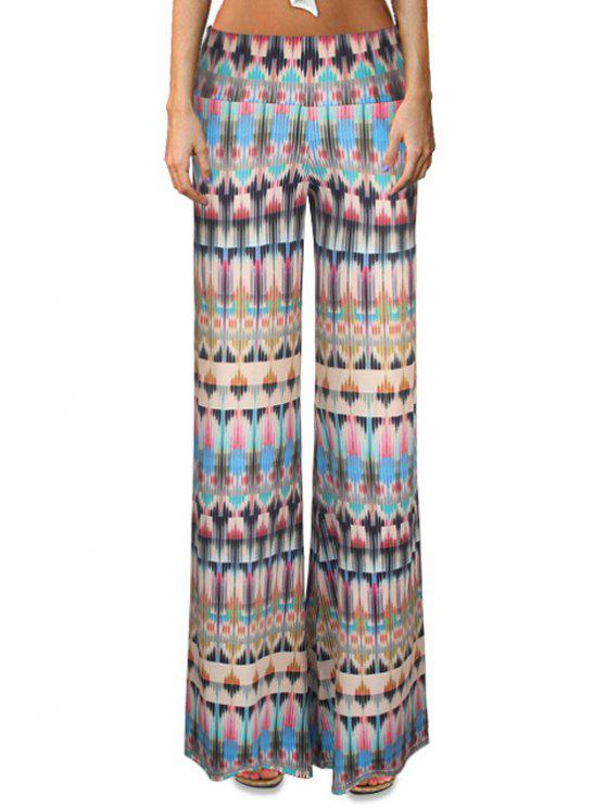 fancy High-Waisted Printed Flare Yoga Pants - COLORMIX L