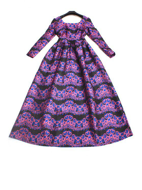 online Retro Print Square Neck Long Sleeves Maxi Dress - PURPLE XL