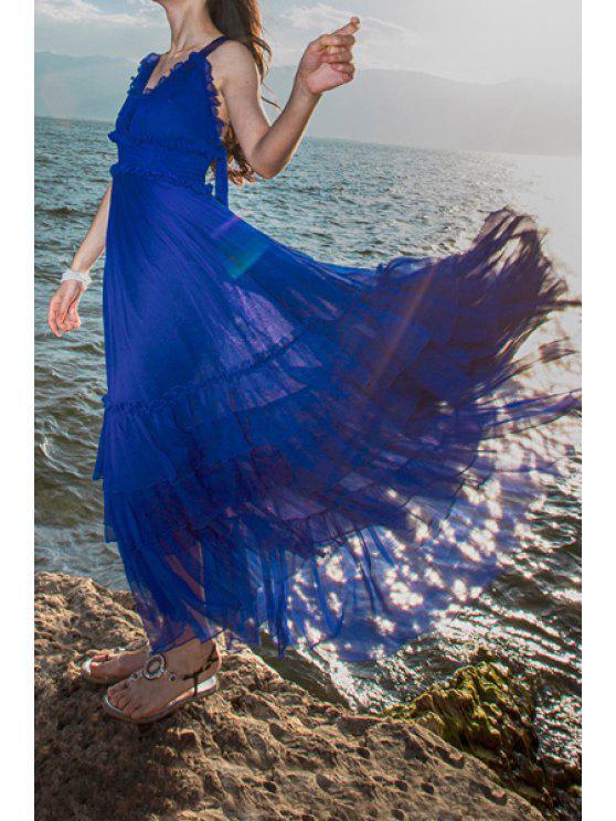 outfits Ruffles Spliced V Neck Sleeveless Maxi Dress - BLUE S