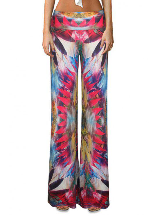 ladies Colorful Flare Palazzo Pants - COLORMIX XL