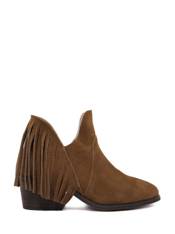 women's Fringe Suede Chunky Heel Ankle Boots - DEEP BROWN 35