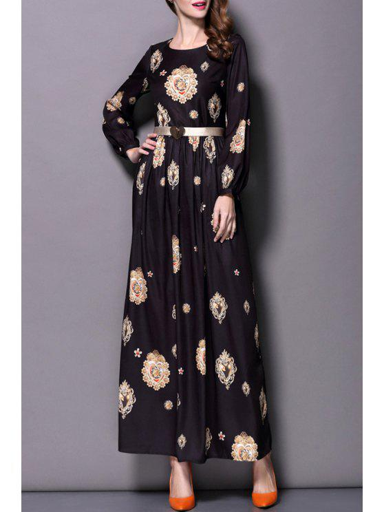 lady Heart Pattern Print Round Collar Long Sleeves Maxi Dress - BLACK S
