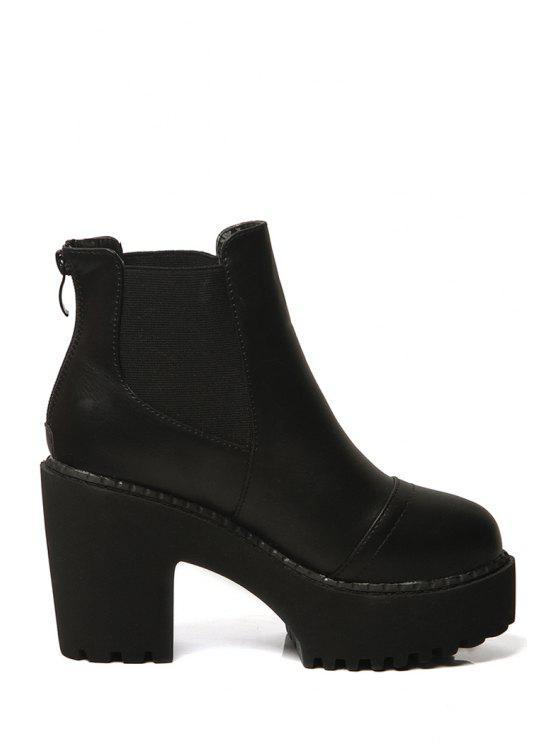 sale Black Platform Zipper High Heel Boots - BLACK 35