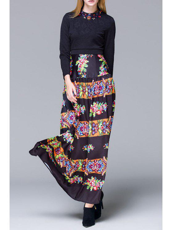 trendy Retro Floral Print Long Sleeves Maxi Dress - BLACK S