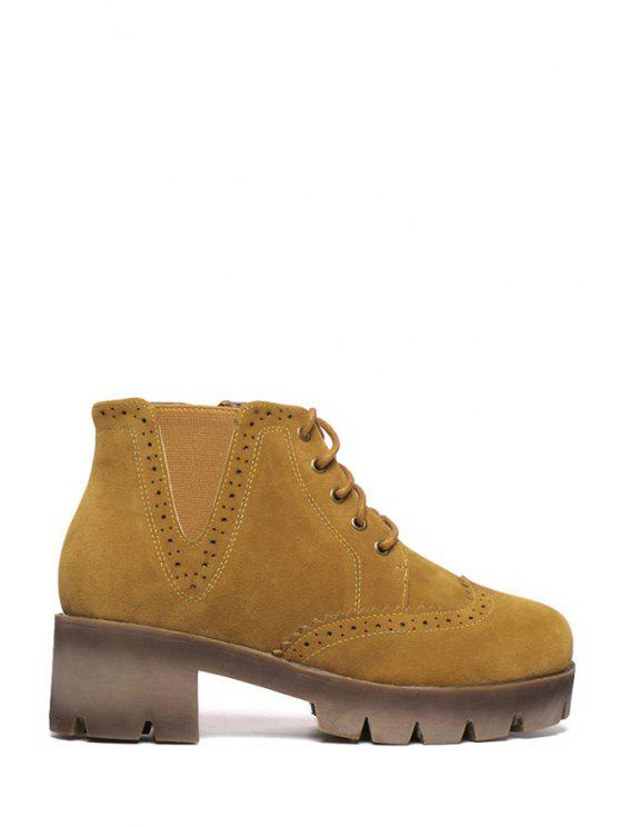 women's Engraving Solid Color Lace-Up Ankle Boots - LIGHT BROWN 35