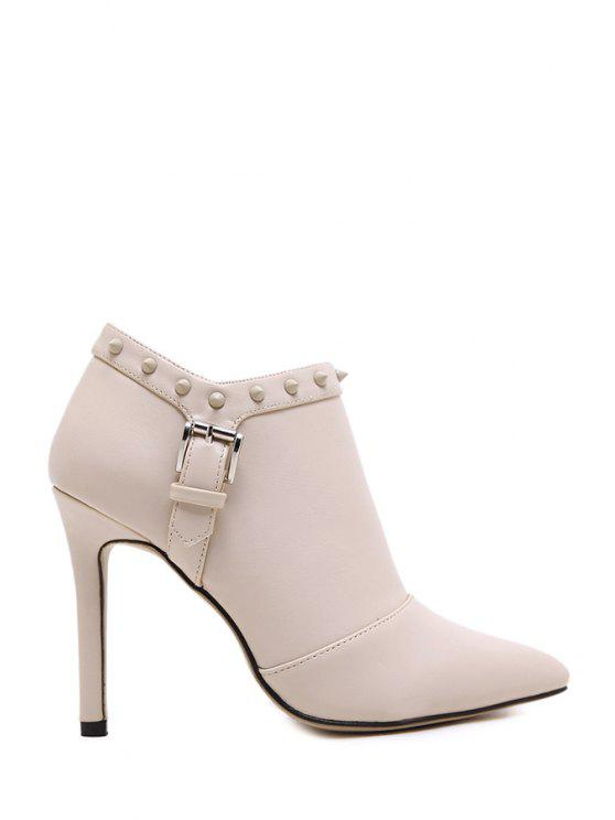 shop Rivet Buckle Pointed Toe Ankle Boots - APRICOT 35