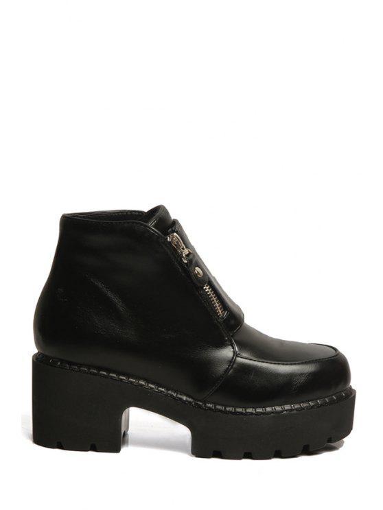 sale Chunky Heel Platform Black Ankle Boots - BLACK 34