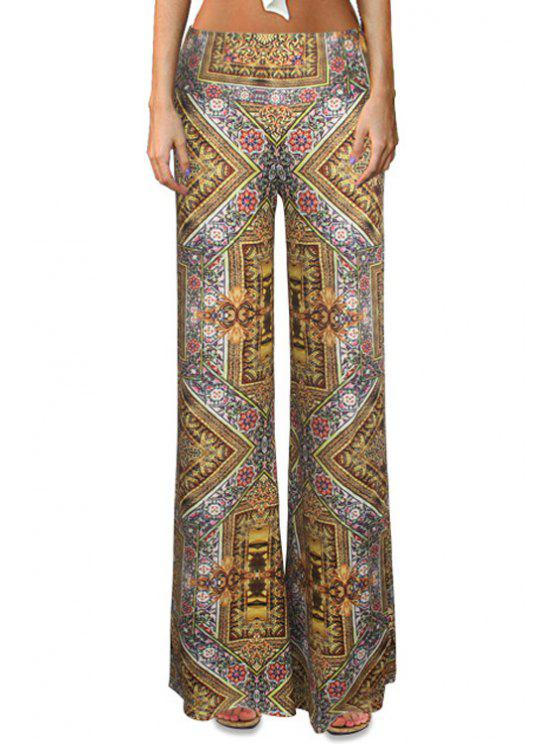 ladies High-Waisted Tribal Pattern Bell Bottoms - COLORMIX S
