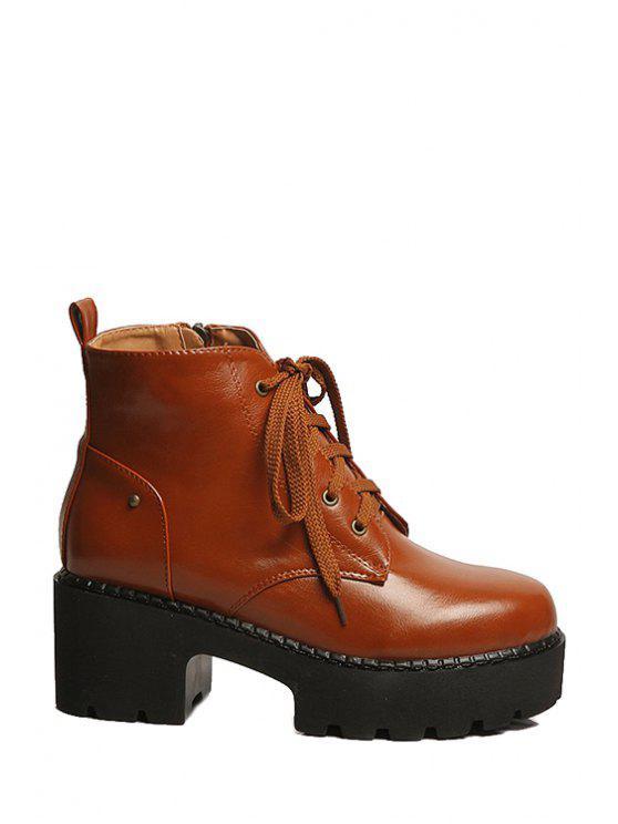 fancy Platform Chunky Heel Solid Color Short Boots - BROWN 35
