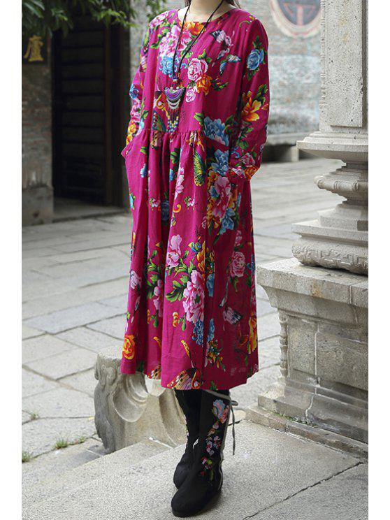 new Colorful Floral Scoop Collar Long Sleeve Dress - ROSE ONE SIZE(FIT SIZE XS TO M)