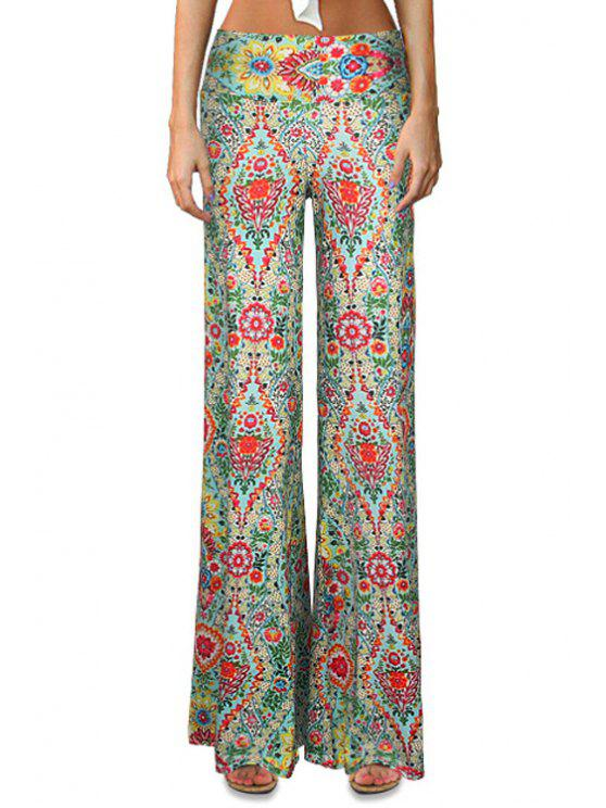 latest Full Floral Print Bell Bottoms - COLORMIX S