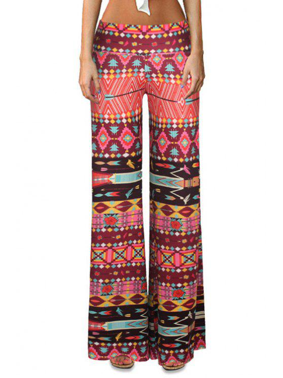 women's Geometric Print Bell Bottoms - COLORMIX S