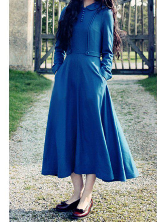 latest Blue Peter Pan Collar Long Sleeve Dress - BLUE S