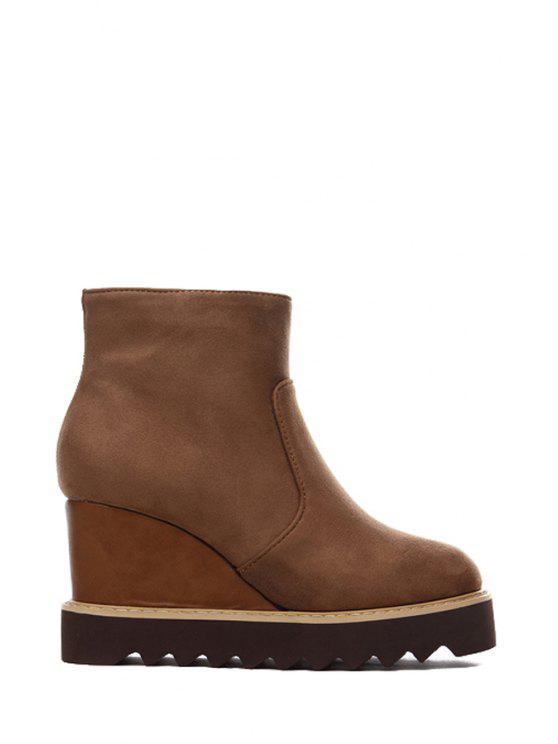 womens Wedge Heel Suede Platform Short Boots - BROWN 35