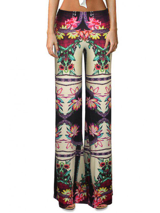 womens High-Waisted Flower Print Bell Bottoms - COLORMIX L