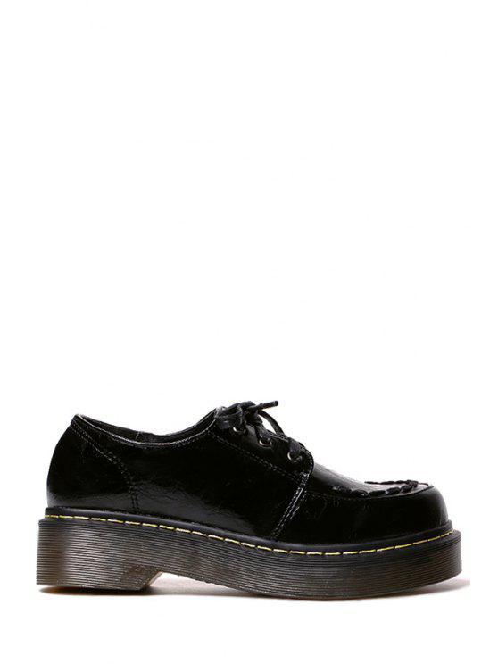 outfits Pure Color Lace-Up Platform Shoes - BLACK 35