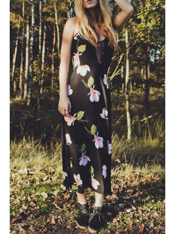 ladies Flower Print Cami Maxi Dress - BLACK S