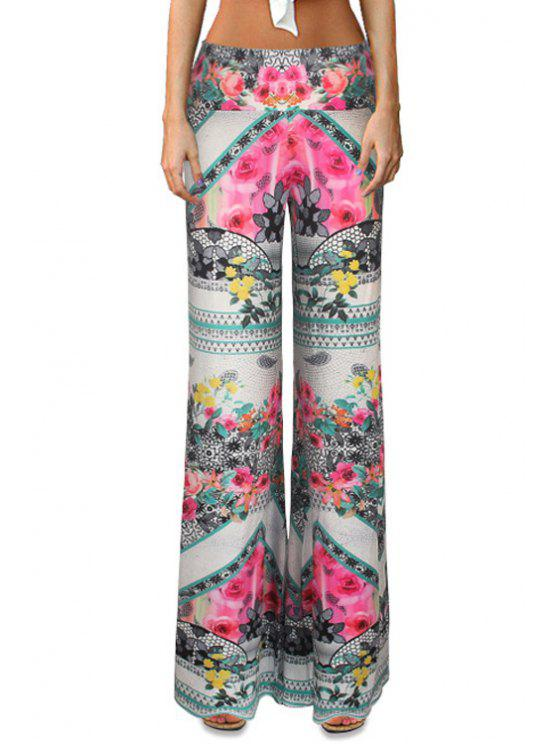 affordable Flower Print Flare Leg Pants - COLORMIX S