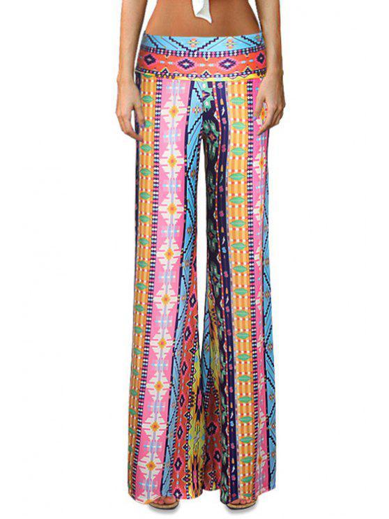 fashion Elastic Waist Printed Flare Leg Pants - COLORMIX L