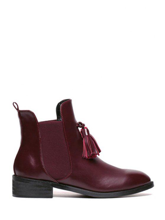 women Elastic Solid Color Tassel Short Boots - WINE RED 35