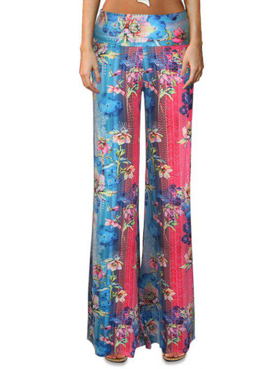 hot Floral Color Block Flare Leg Pants - COLORMIX XL