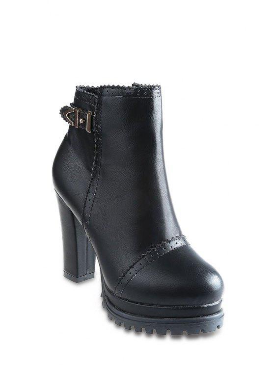 buy Engraving Pure Color Buckle High Heel Boots - BLACK 34