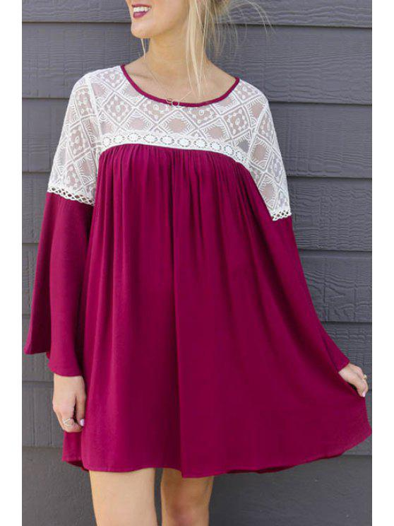 fancy Lace Spliced Scoop Collar Long Sleeve Dress - WINE RED S