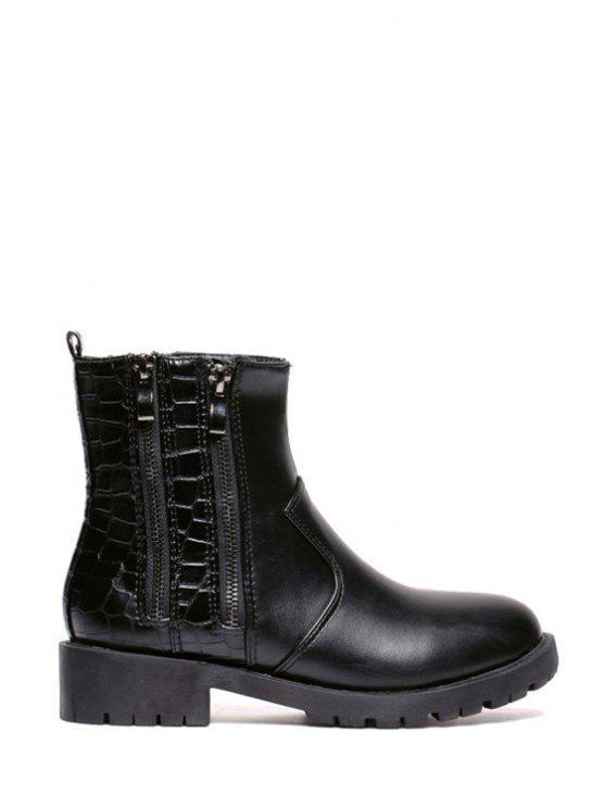 hot Stone Pattern Black Zippers Short Boots - BLACK 35