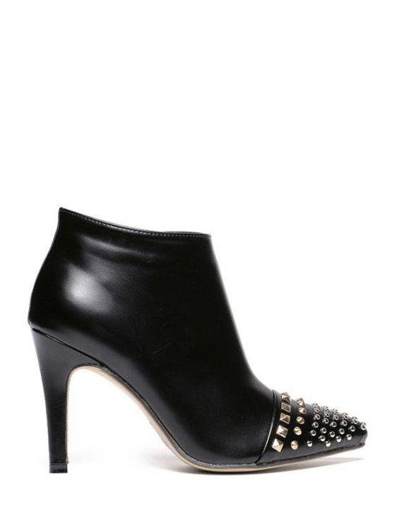 outfit Metallic Rivets Zipper Black High Heel Boots - BLACK 35