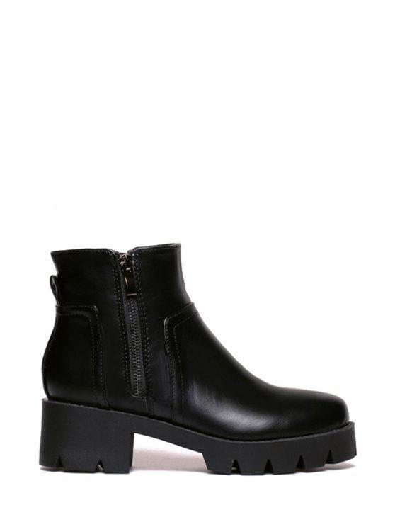 latest Stitching Black Chunky Heel Short Boots - BLACK 35