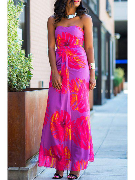 women Tube Top and High-Waisted Long Skirt Suit - PURPLE L