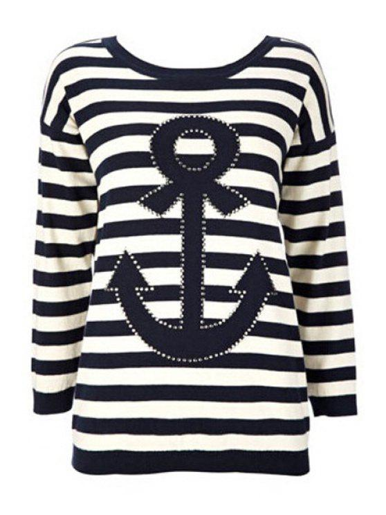 latest Striped Round Collar Long Sleeves Anchor Print T-Shirt - WHITE AND BLACK S