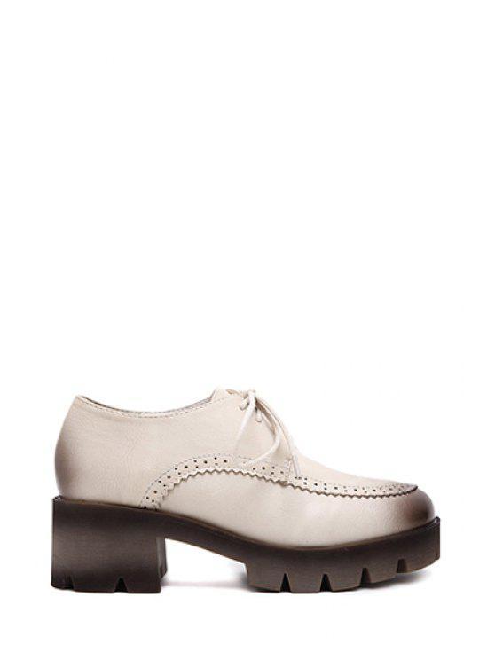 women's Solid Color Engraving Lace-Up Platform Shoes - APRICOT 35