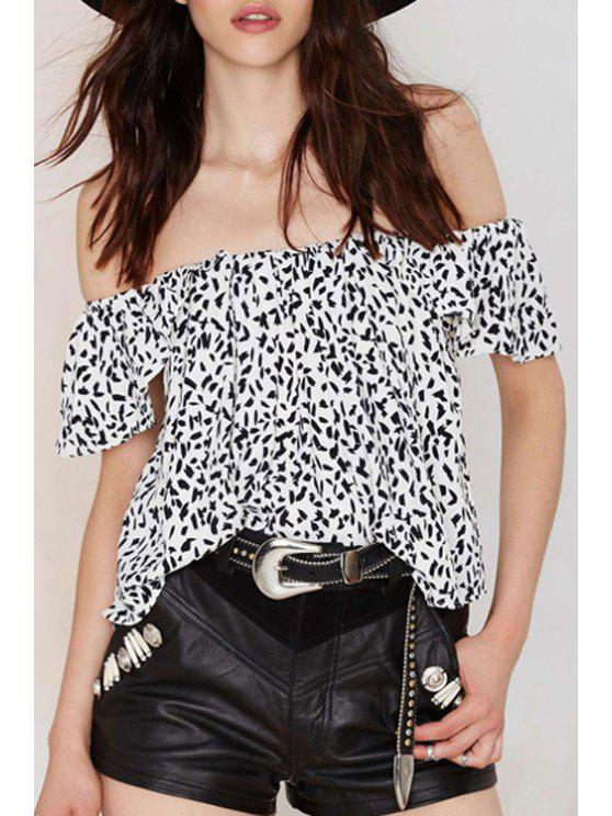 trendy Print Off The Shoulder Short Sleeve Blouse - WHITE XS