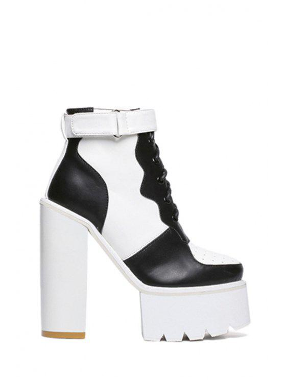 best Platform Lace-Up  High Heel Boots - WHITE AND BLACK 34