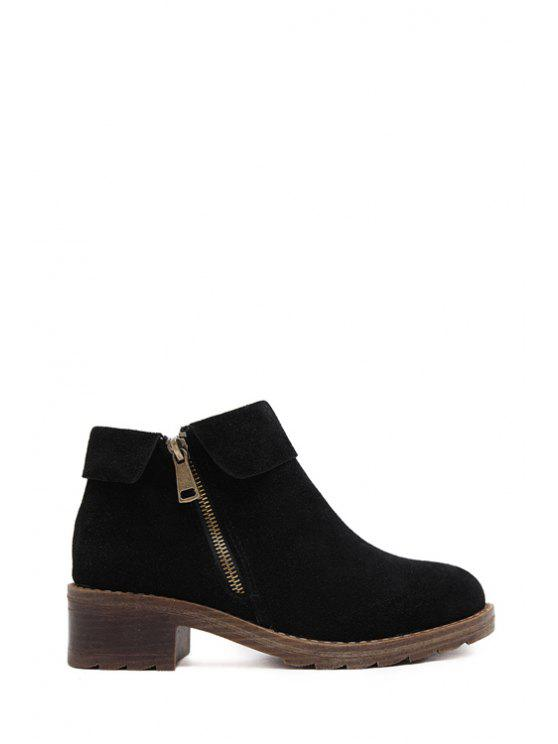 womens Suede Solid Color Zippers Ankle Boots - BLACK 35