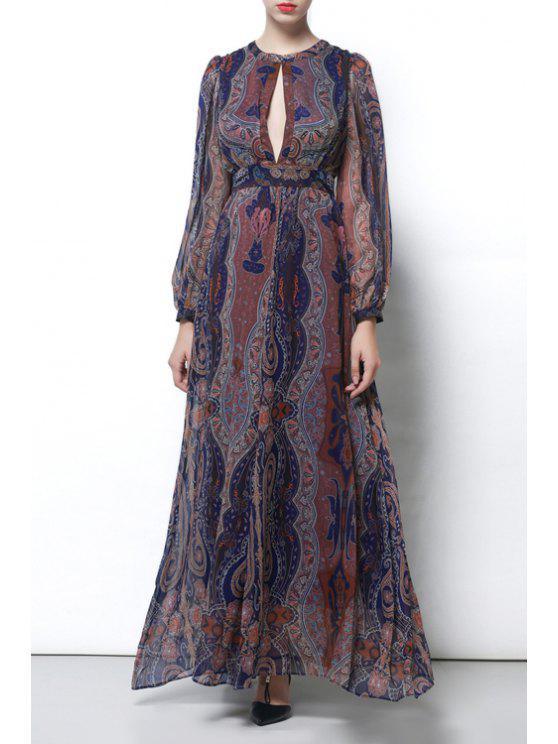 best Vintage Hollow Out Evening Dress - COLORMIX S