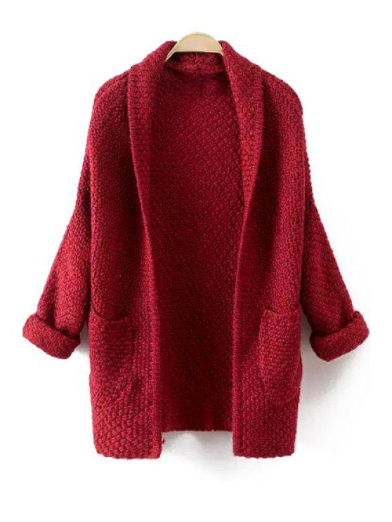 chic Solid Color Turn-Down Collar Long Sleeves Pocket Cardigan - RED ONE SIZE(FIT SIZE XS TO M)