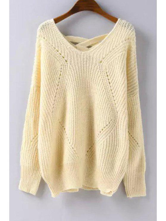 best V-Neck Hollow Out Lace-Up Solid Color Sweater - OFF-WHITE ONE SIZE(FIT SIZE XS TO M)