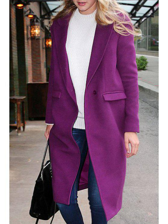 womens Lapel Pocket Design Purple Wool Coat - PURPLE XL