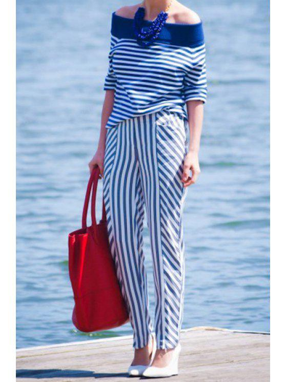 sale Off-The-Shoulder Blouse + Striped Pants Suit - BLUE AND WHITE S