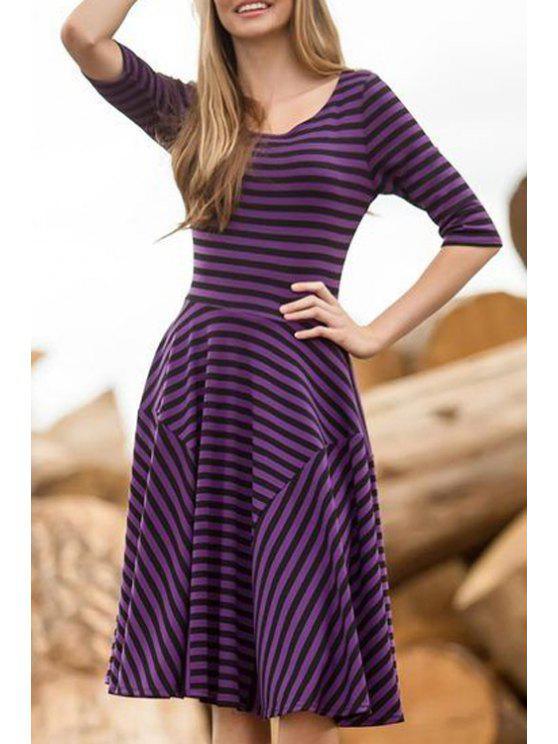 women Half Sleeve Striped Panel Dress - PURPLE S