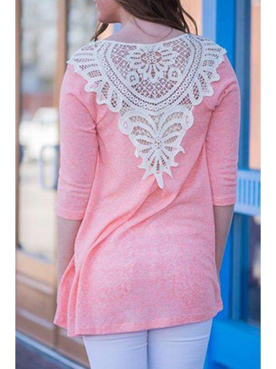 ladies 3/4 Sleeve Lace Patchwork T-Shirt - PINK S