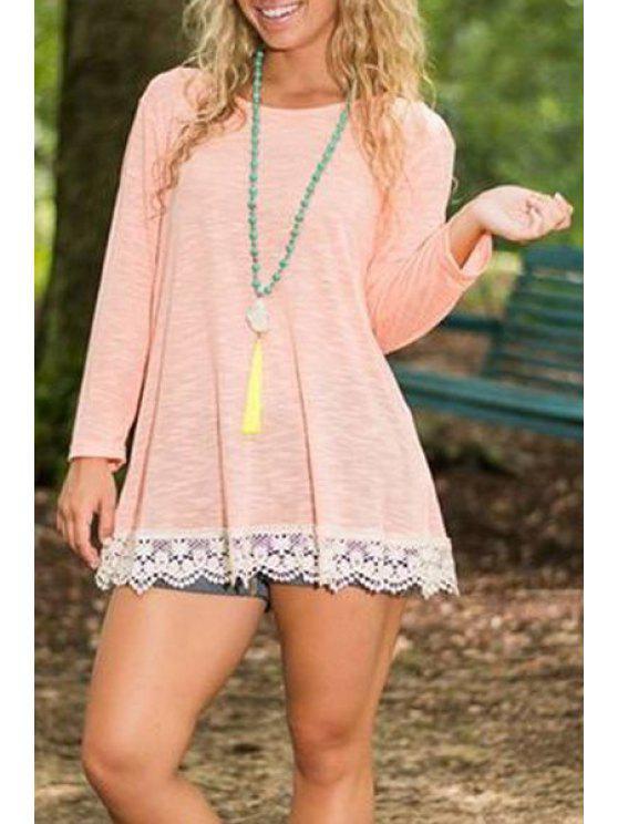 new Lace Hem Back Slit Pink T-Shirt - PINK S