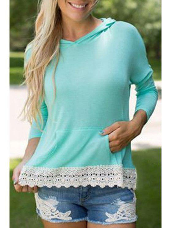 shop Hooded Lace Hem Front Pocket T-Shirt - TURQUOISE S