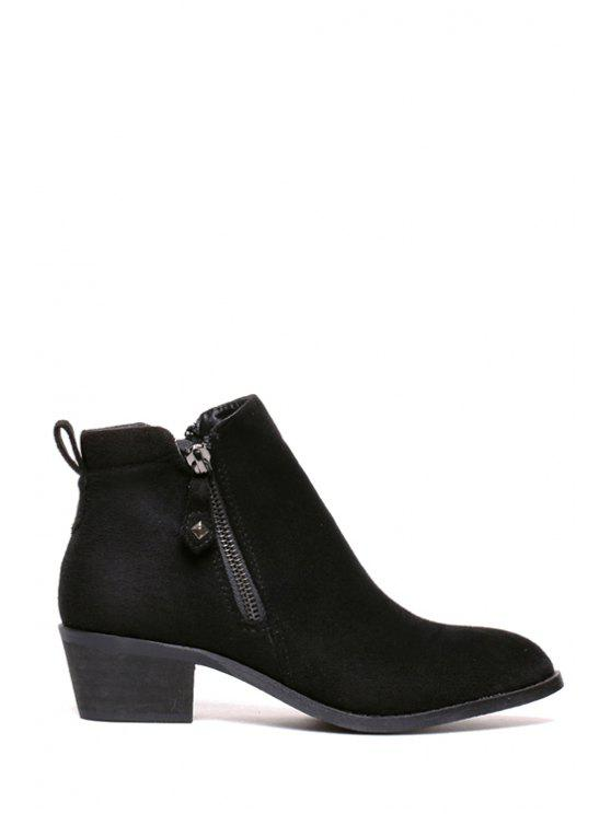 outfits Flock Solid Color Zippers Short Boots - BLACK 35