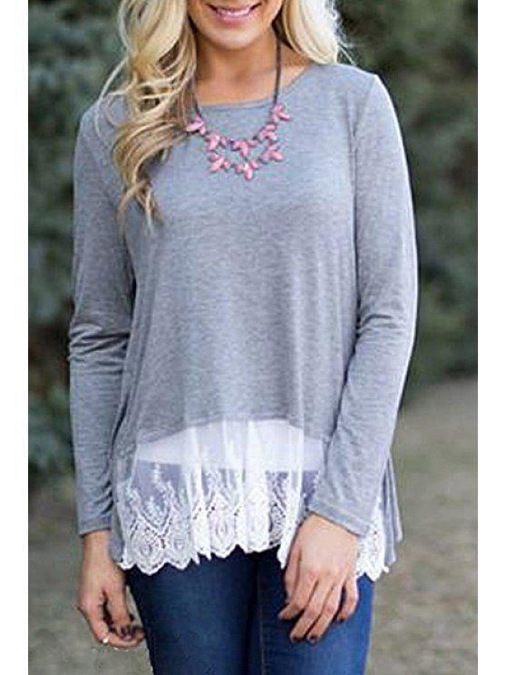 fashion Long Sleeve Lace Hem Grey T-Shirt - GRAY S