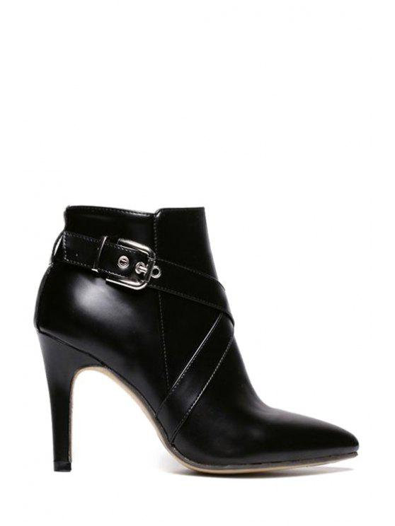 trendy Criss-Cross Pointed Toe Buckle Ankle Boots - BLACK 35