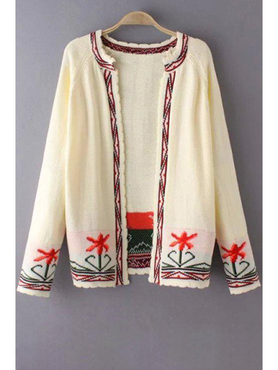 trendy Printed Round Collar Long Sleeves Cardigan - OFF-WHITE S