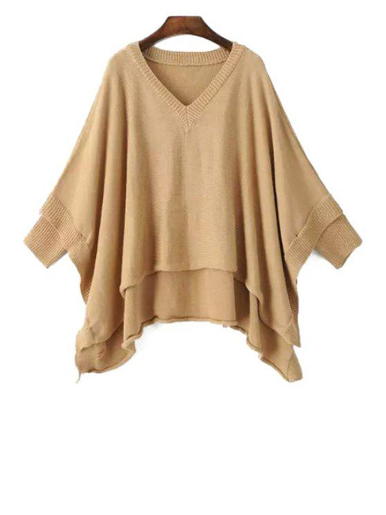 buy Irregular Hem Solid Color Batwing Sleeves Cape Sweater - KHAKI ONE SIZE(FIT SIZE XS TO M)